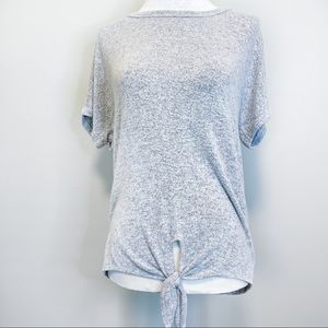 Caution To The Wind Gray Knot Bow Comfy Tee Top